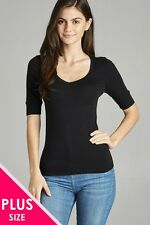 1X 2X 3X Plus Size Women's Elbow 3/4 Sleeve V-Neck Cotton T-shirt Tee Top #T6671