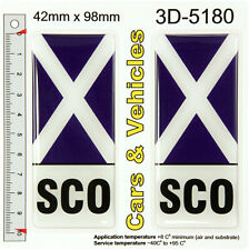 2x Scotland SCO Saltire Flag Resin Gel Domed Number Plate Decals Badges Stickers
