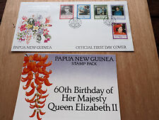 PNG 1986 Queen ELIZABETH II 60th Birthday MNH pack + FDC