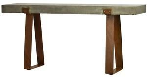 "71"" Long Console Table Rustic Concrete Top Grey Steel Base Rust Finish"