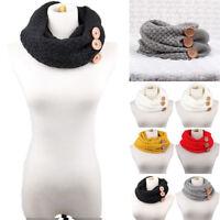 Women Winter Warm Circle Button Knit Cowl Neck Long Scarf Shawl Wrap
