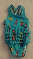 NWT Hanna Andersson Mermaid Ruffled Swimmy One Piece Swimsuit Baby Toddler Girl