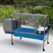 Flyline Rabbit Bunny Guinea Pig Pet Hutch Cage with Castors