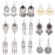 EG_ Women's Dreamy Retro Eardrop Chandelier Ethnic Dangle Hook Earrings Silver G