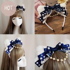 Japanese Harajuku Gothic Hair Accessories Lolita Lace Bow Cute Princess Headband