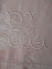 DRAP ANCIEN EN METIS BRODE monogrammé BL avec un retour 3.17X2.06m.