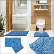 Cobalt / Blue WAVES Soft 100% Cotton Bath Mat & Pedestal Mat 2 Piece Bath Set