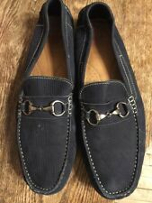 14th & UNION Suede Navy Blue Loafers Driving MOCS SHOES Horsebit Buckle, Size 15