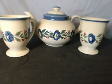 DesignPac Teapot And Matching Pair Of Mugs Ivory With Blue Flowers 6 Inches Tall