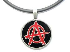 Anarchy Anarcho Pewter Punk Biker Charm Pendant Amulet & Pvc Choker Necklace