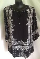 "AUTOGRAPH BLACK/WHITE ""PAISLEY PRINTED"" TOP SZ 18-NEW STOCK JUST IN!!! STUNNING"
