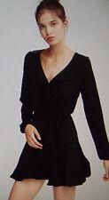 EXPRESS XS BLACK RUFFLE V-NECK FIT FLARE LONG SLEEVE DRESS faux wrap XS 0-2
