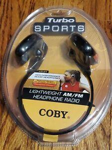 New Sealed Coby CX-24 Lightweight AM/FM Radio Headphones Sports Vintage