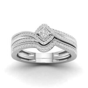 2pcs/set 925 Silver Princess Cut CZ Wedding Engagement Ring for Women Girl