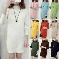 Womens Plain Knitted Sweater Long Sleeve Pullover Jumper Tunic Tops Mini Dress