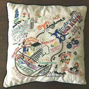 Catstudio Austin Geography Hand-Embroidered Pillow 20'' x 20'' (Retired)