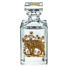 Vista Alegre Crystal Golden Pig Whisky Decanter With Gold