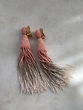 Oscar De La Renta Ombré Beaded Tassel Earrings NEW UNWORN