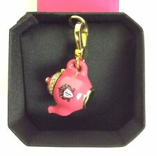 Juicy Couture Charm Pink Teapot Bling Goldtone Clip + Box