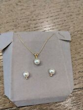14k Gold Diamond & Pearl Stud Earrings and Necklace