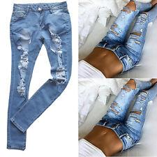 Women's High Waist Skinny Ripped Denim Pants Slim Pencil Trousers Fashion Jeans