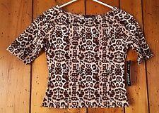 Junior's Size XL Leopard Print Top Blouse Shirt Tan Brown Black White