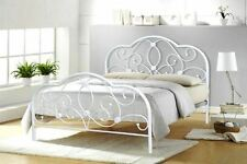 Curved Stone White Metal Framed Bed 4ft6 5ft Mattress Options