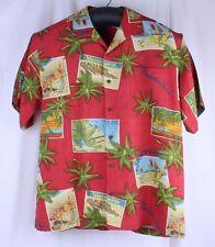 Tommy Bahama California Beach Post Card Malibu Laguna Dana Pt Size L 100% Silk