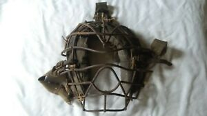 Rare Vintage Antique Leather Metal Wire Baseball Catcher's Mask Umpire 1900s