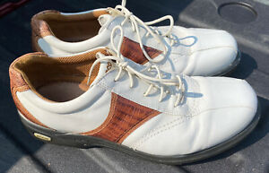 ECCO GOLF SHOES, Size 45 Size 12 US WHITE / BROWN