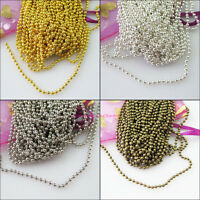 5M Ball Chain Necklace 2mm beads Gold Dull Silver Bronze Plated