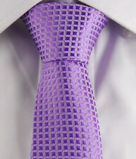 "Purple Checkers Skinny Slim Narrow Woven Silk 2"" Men Necktie Wedding Tie JT115"