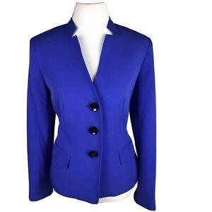 New KASPER 1PC Single Breasted Collarless Blue Polyester Blend Blazer Size 14