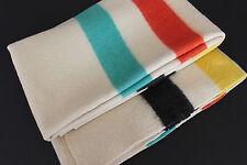 "Vintage 50's ""Polar Star"" 100% Felted Wool 4 Stripe Trapper/Camp Blanket 90""x73"""