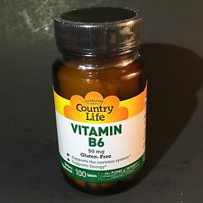 Vitamin B6 50mg Country Life 100 Tabs Gluten Free Exp 10/17 New & Sealed