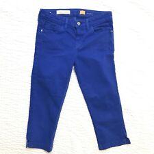 Anthropologie Pilcro Women's Size 27 Cobalt Blue Crop Capris Jeans Letterpress