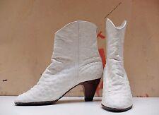 True Vintage K+S studio STRAUßENLEDER Weiß 90er Stiefeletten Damenschuhe Stiefel