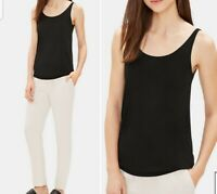 """New XL Eileen Fisher Scoop Neck Silk Cami shell tank top Black Nwt """"the system"""""""