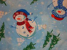 "Snowman Blue Cotton Sheeting Quilt Christmas fabric 1 yard x 58"" wide"