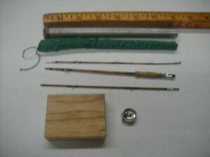 VINTAGE Miniature Antique Bamboo Fly rod  & REEL W/ COVER CASE SALESMAN SAMPLE