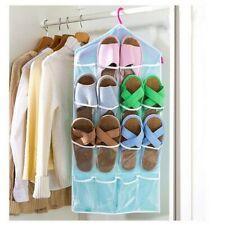 16 bolsillos sobre la puerta organizador colgante caja de zapato rack Colgador de almacenamiento ordenado Azul