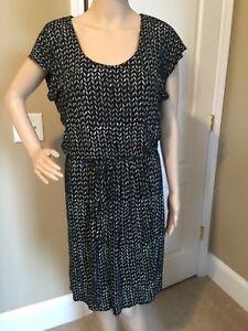 Ann Taylor LOFT Women's Black Print Dress Size S