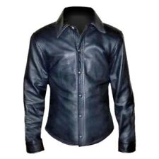 Men's Collared Police Shirt Genuine Lamb Leather Cuir Schwarz BLUF Lederhemd Gay