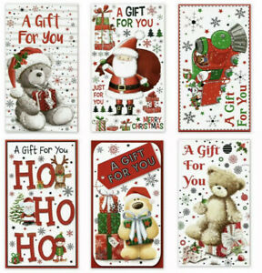 Pack OF 6 Assorted Christmas Self Sealing Money Gift Wallet Envelope Random