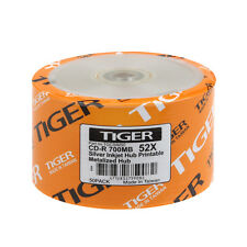 1000 PCS Tiger CD-R 52X Silver Inkjet Hub Printable Blank CDR Disc Media 700MB
