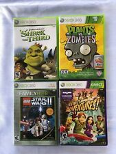 XBOX 360 4 Game Bundle Plant Vs Zombies, Star Wars 2, Shrek The 3rd, Kinect Adve