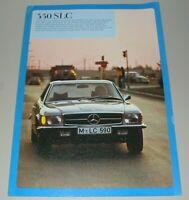 Auto Prospekt Mercedes Benz 350 SLC R 107 Stand 1971