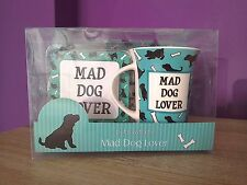 Mad Dog Lover Mug, Coaster, Biscuit Tray Set. Kitchen, Tea, Coffee, Pets.