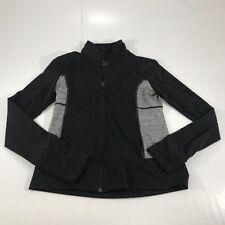 Aspire Women's Full Zip Long Sleeve Athletic Shirt Fitted Thumbholes Black XS