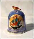 Noritake Art Deco Luster Dome Cigarette Holder with Ship and Figural Bird #A059